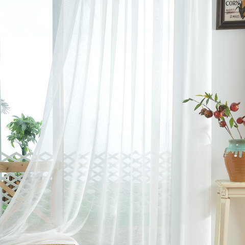 A touch of Sunshine Semi Sheer White Voile Curtain 8