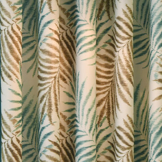 Palm Tree Leaves Blue Roman Blind 2