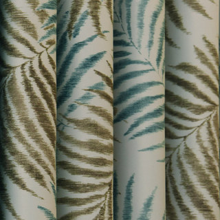 Palm Tree Leaves Blue Roman Blind 3