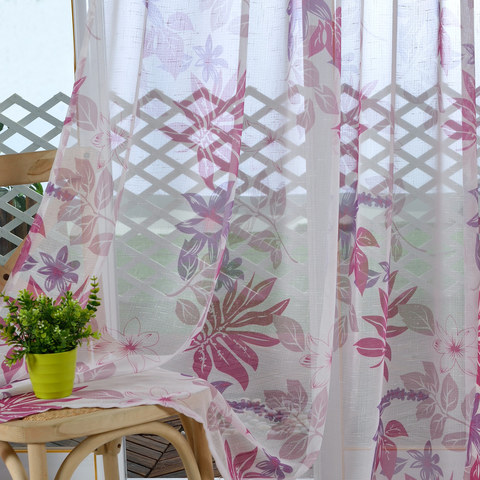 Tropical Leaves Purple Pink Voile Curtain 2