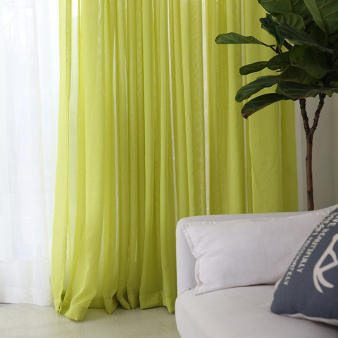Notting Hill Lime Green Luxury Voile Curtain 1