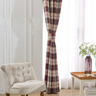 Cosy Plaid Check Burgundy Chenille Curtain 4
