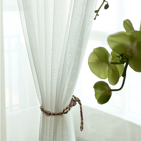 A touch of Sunshine Semi Sheer White Voile Curtain 3