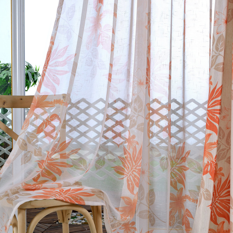 tropical leaves orange voile curtain voila voile. Black Bedroom Furniture Sets. Home Design Ideas