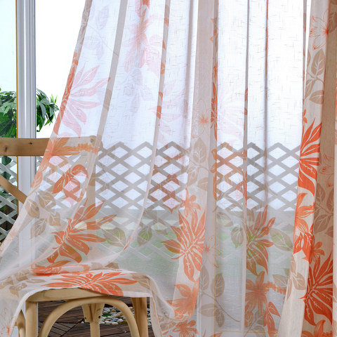Tropical Leaves Orange Voile Curtain 2
