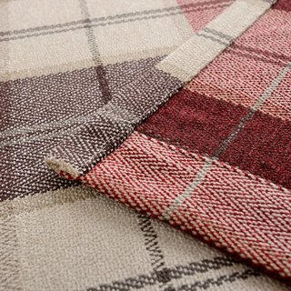Cosy Plaid Check Burgundy Chenille Roman Blind 3