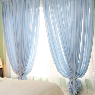 Notting Hill Baby Blue Luxury Voile Curtain 1