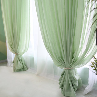 Notting Hill  Luxury Sage Green Voile Curtain 1