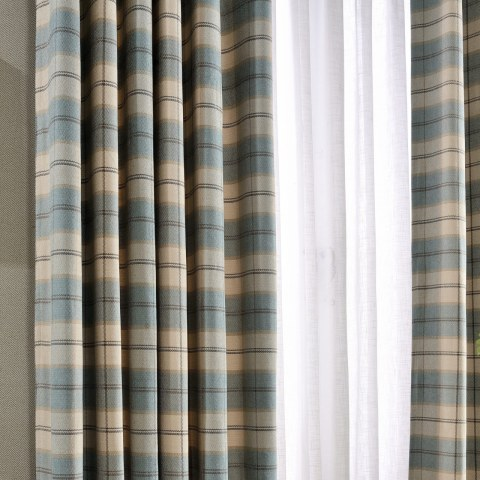 Cosy Plaid Check Light Blue Chenille Curtain 2