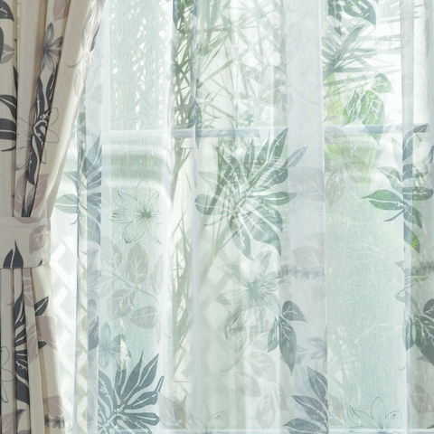 Sheer Curtain Tropical Leaves Grey Voile Curtain 2