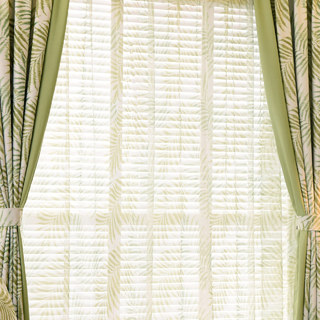 Palm Tree Leaves Green Voile Curtain 2