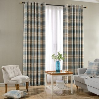 Cosy Plaid Check Light Blue Chenille Curtain 1