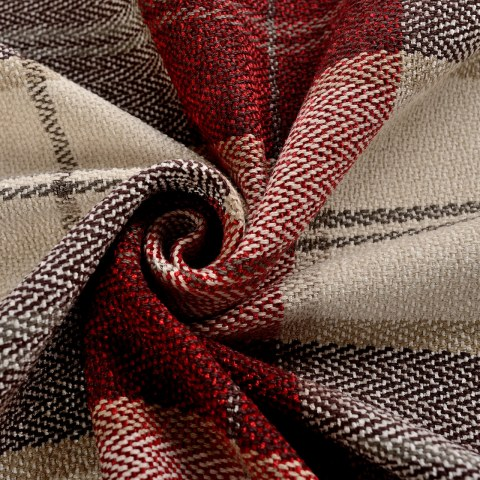 Cosy Plaid Check Burgundy Chenille Roman Blind 2