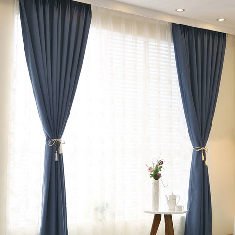 Subtle Spring Denim Navy Blue Curtain -  New 3