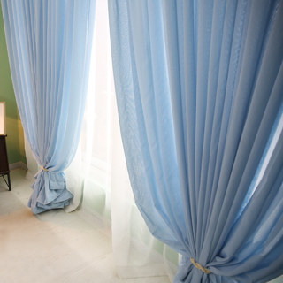Notting Hill Baby Blue Luxury Voile Curtain 4