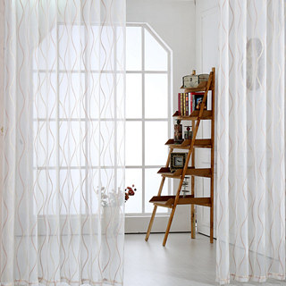Wave Some Magic Ivory Voile Curtain 1
