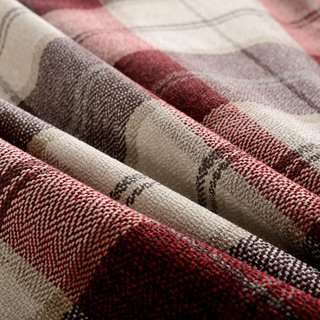 Cosy Plaid Check Burgundy Chenille Roman Blind 1