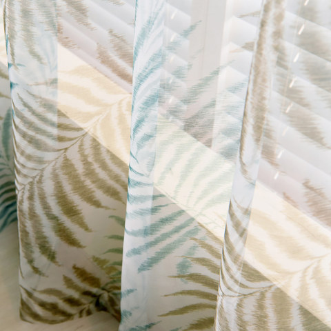 Palm Tree Leaves Blue Voile Curtain 1