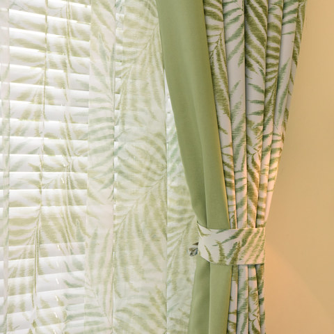 Palm Tree Leaves Green Curtain with Green Border 2