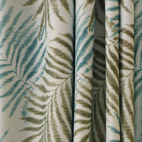 Palm Tree Leaves Blue Roman Blind 1