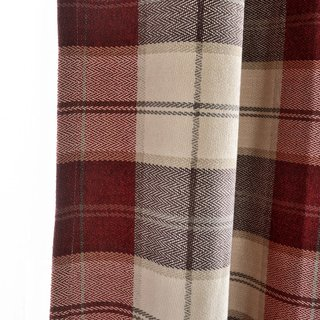 Cosy Plaid Check Burgundy Chenille Curtain 6