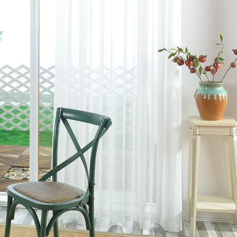 A touch of Sunshine Semi Sheer White Voile Curtain 9