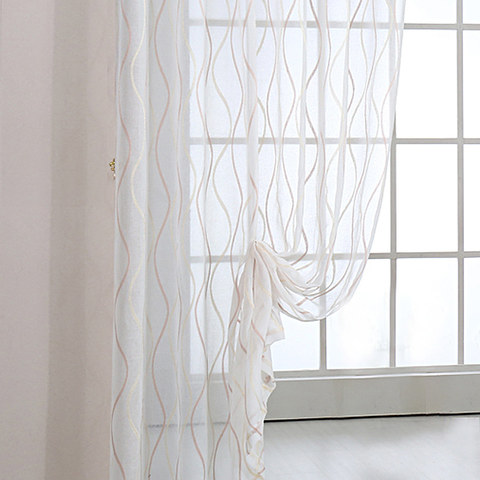 Wave Some Magic Ivory Voile Curtain 2