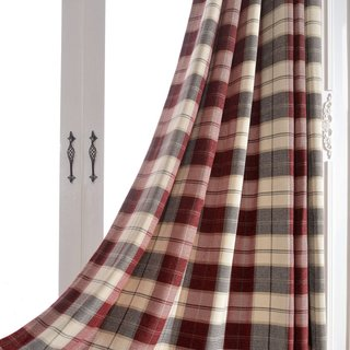 Cosy Plaid Check Burgundy Chenille Curtain 3
