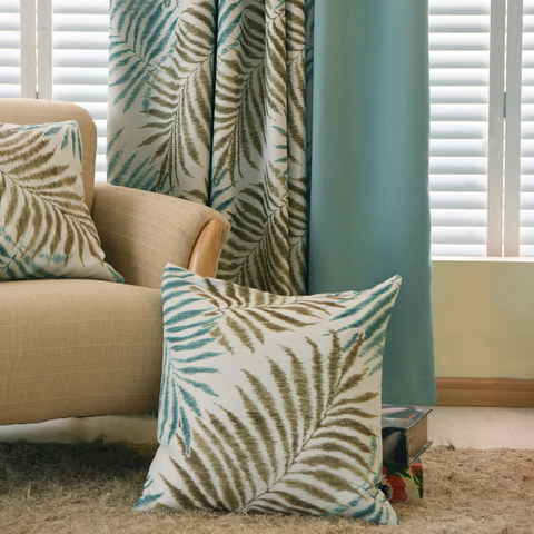 Palm Tree Leaves Blue Curtain with Blue Border 7
