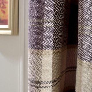 Cosy Plaid Check Light Purple Chenille Curtain 5