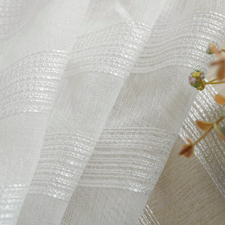 Sheer Curtain Silver Shimmery Striped White Voile Sheer Curtain 5