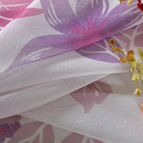 Tropical Leaves Purple Pink Voile Curtain 5