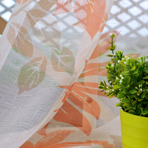 Tropical Leaves Orange Voile Curtain 3