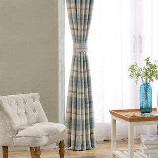 Cosy Plaid Check Light Blue Chenille Curtain 5