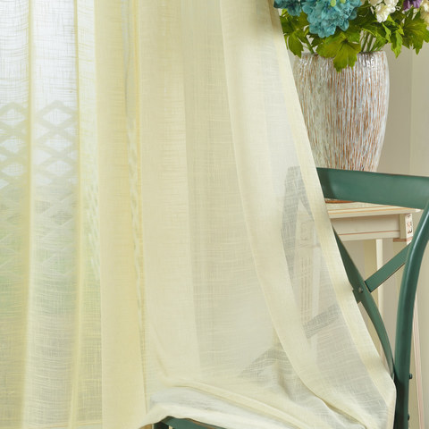 A touch of Sunshine Semi Sheer Lemon Yellow Voile Curtain 3