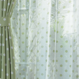 classic green polka dot voile curtain voila voile. Black Bedroom Furniture Sets. Home Design Ideas