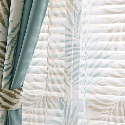 Palm Tree Leaves Blue Voile Curtain 3