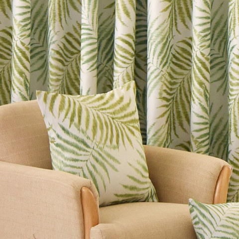 Palm Tree Leaves Green Curtain with Green Border 5
