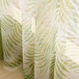Palm Tree Leaves Green Voile Curtain 4