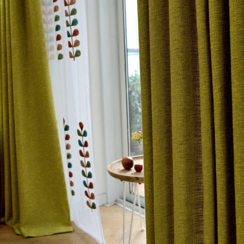 City Style Olive Green Curtain 3