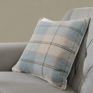 Cosy Plaid Check Light Blue Chenille Roman Blind 5