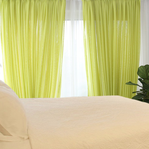 Notting Hill Lime Green Luxury Voile Curtain 2