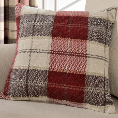 Cosy Plaid Check Burgundy Chenille Roman Blind 4