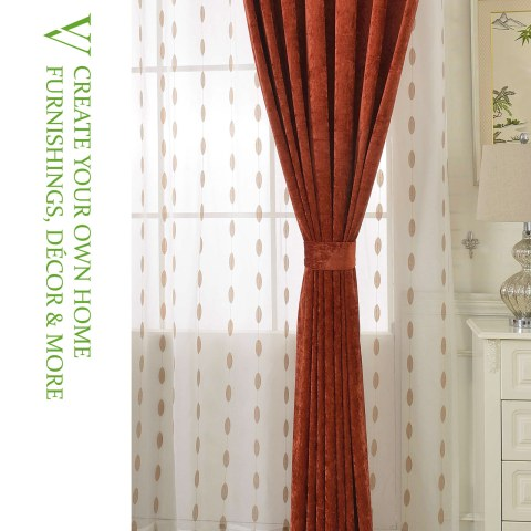 Luxury Terracotta Colour Chenille Curtain 2