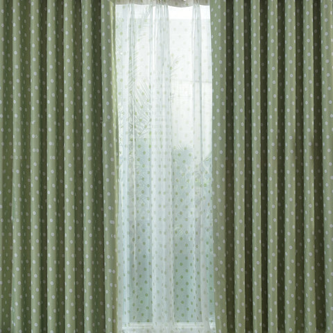 Classic Blackout Green Polka Dot Curtain 1
