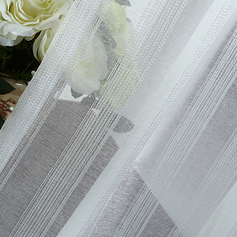 Sheer Curtain Silver Shimmery Striped White Voile Sheer Curtain 4