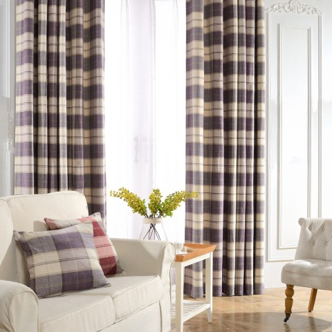 Cosy Plaid Check Light Purple Chenille Curtain 1