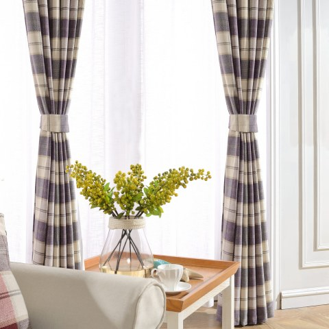 Cosy Plaid Check Light Purple Chenille Curtain 4