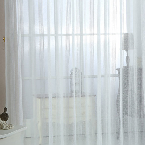 Sheer Curtain Silver Shimmery Striped White Voile Sheer Curtain 2