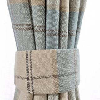 Cosy Plaid Check Light Blue Chenille Curtain 6